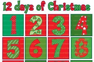 Christmas Numbers Clipart AMB-353