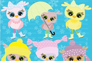 Pastel Baby Owls Clipart AMB-363