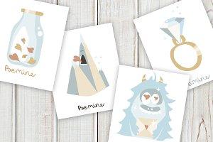 Valentines Day Cards &  Patterns set