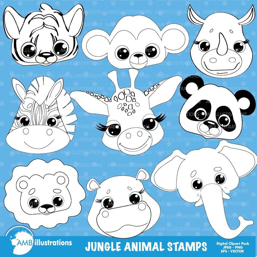 Line Art Jungle Animals : Jungle animal faces stamps amb illustrations