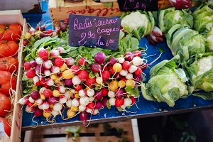 Radish at vegetable market in France