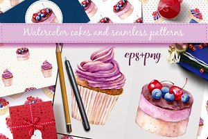 Watercolor cakes. Vector set.