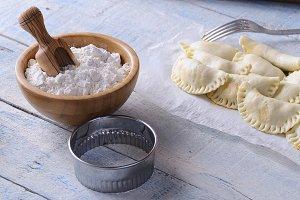 Close-up of raw dumplings