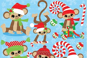 Christmas Monkeys Clipart AMB-380