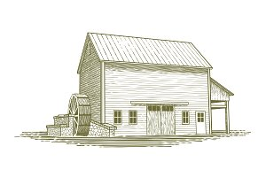 Woodcut Mill Illustration