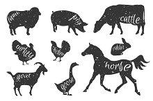 Set of farm animals silhouettes.