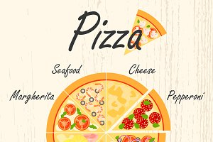 Set of flat pizza icons.