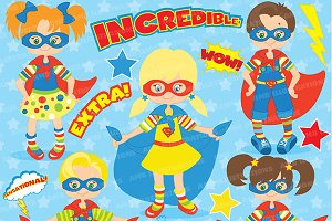 Superhero Kids Clipart AMB-113