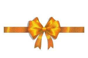 Gold ribbon and big bow on white