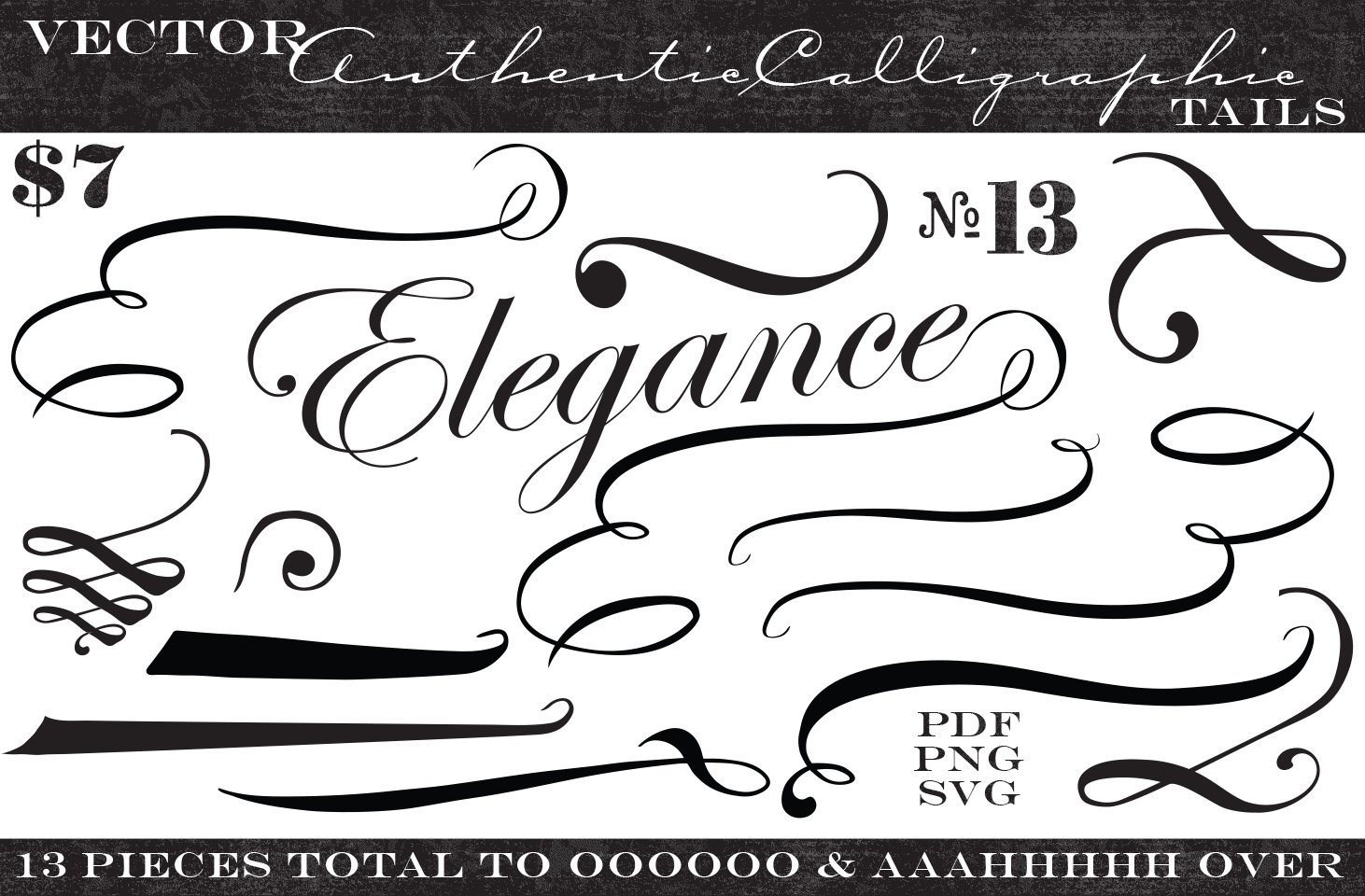Font Tails Svg Vector Text Tails Font Swoosh Text Swoosh: Vintage Vector Calligraphic Tails