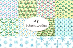 48 Christmas Watercolor Patterns