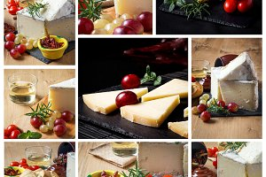Collage to Typical Spanish cheese wi