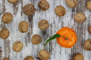 Mandarin and walnuts,