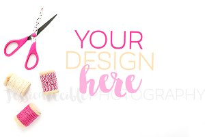 Designer Scissors, Pink Thread Spool