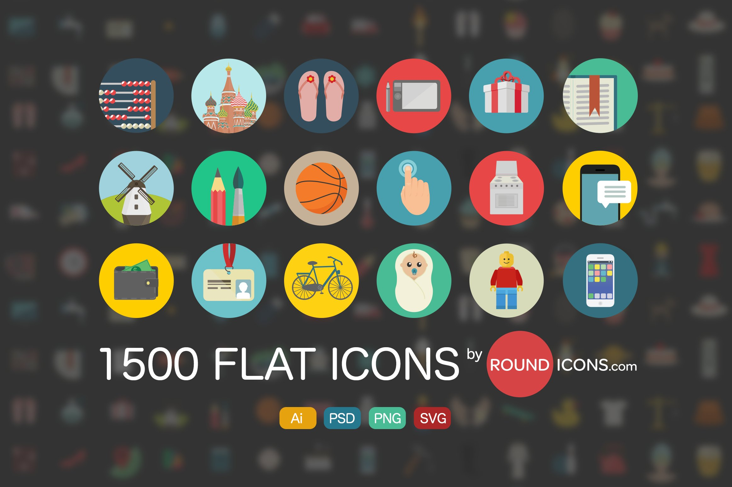 2500 Flat Icons Ai | PSD | SVG |PNG ~ Icons ~ Creative Market