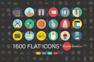 2500 Flat Icons Ai | PSD | SVG |PNG
