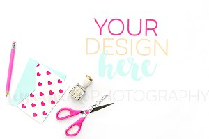 Designer Scissors + Pink Heart Card