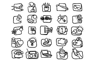 Hand drawn, Art icon set