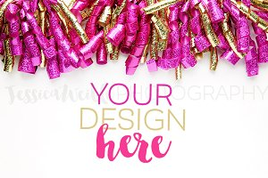 Fuchsia + Gold Glitter Ribbon Curls
