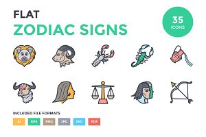 Flat Zodiac Signs Icons