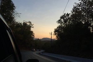 Sunrise view on the road
