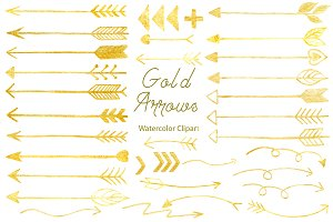 Hand Drawn Gold Arrows