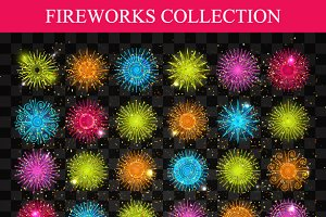 Set of multicolored fireworks