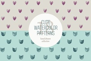 Cute watercolor patterns