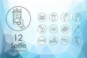 Selfie line icons