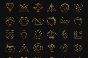 Hipster Gold Elements for design