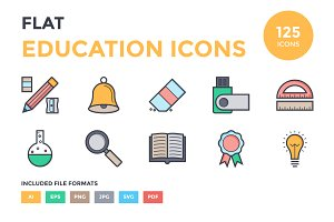 125 Flat Education Icons