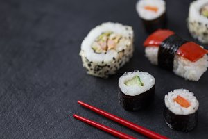 Sushi and chopsticks closeup