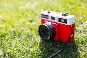 Cute red camera on grass