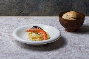 tagliatelle with prawns