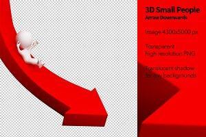 3D Small People - Arrow Downwards