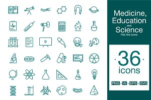 Science icon set Flat line icons