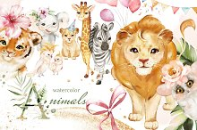 watercolor animals, tropical party