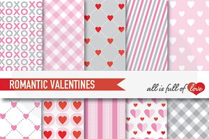 Romantic Valentines Papers Pink Grey