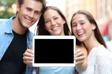 Friends showing a blank tablet screen.jpg