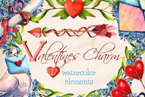 Valentines Charm watercolor clip art