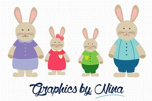 Rabbit Family/Bunny Family Clipart