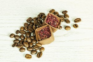 chocolate candies with coffee beans