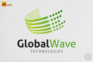 Global Wave Technology Logo Template