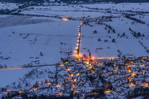 Villages glowing in the winter night
