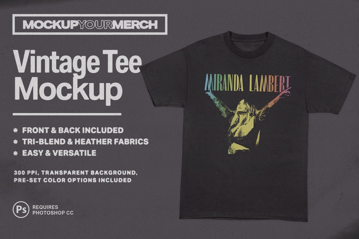 Vintage T Shirt Mockup Creative Photoshop Templates Creative Market