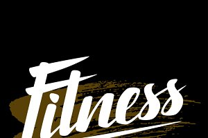 Fitness lettering poster concept.