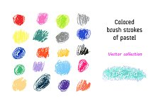 Vector Set. Pastel brush strokes