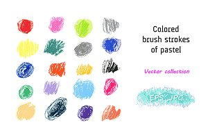 Vector Set. Pastel brush strokes