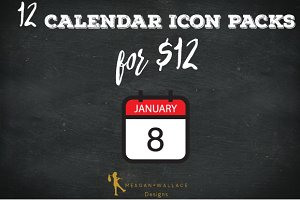 12 Calendar Icon Packs Bundle-$12