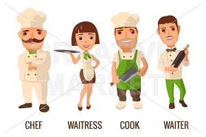 Waiter, cook, chef, waitress